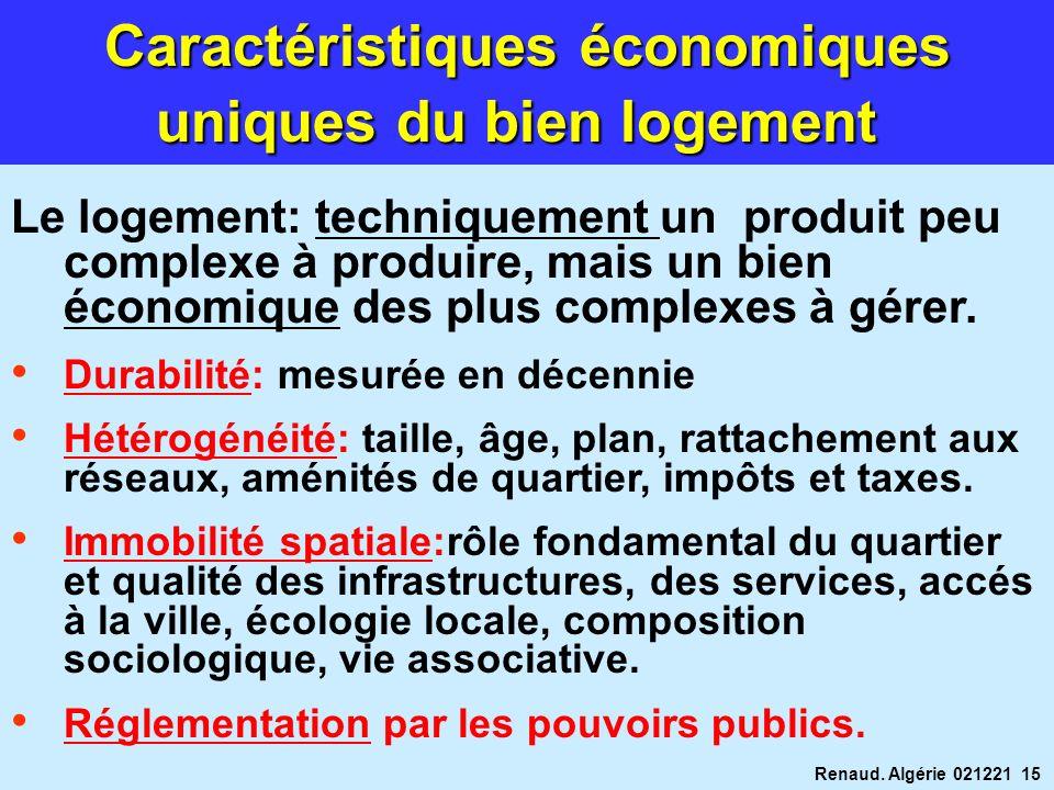 Renaud. Algérie 021221 15 Caractéristiques économiques uniques du bien logement Le logement: techniquement un produit peu complexe à produire, mais un