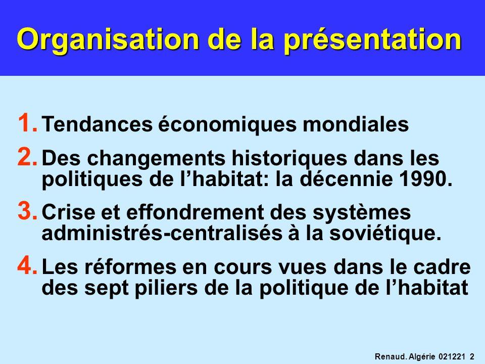 Renaud. Algérie 021221 2 Organisation de la présentation 1. Tendances économiques mondiales 2. Des changements historiques dans les politiques de lhab