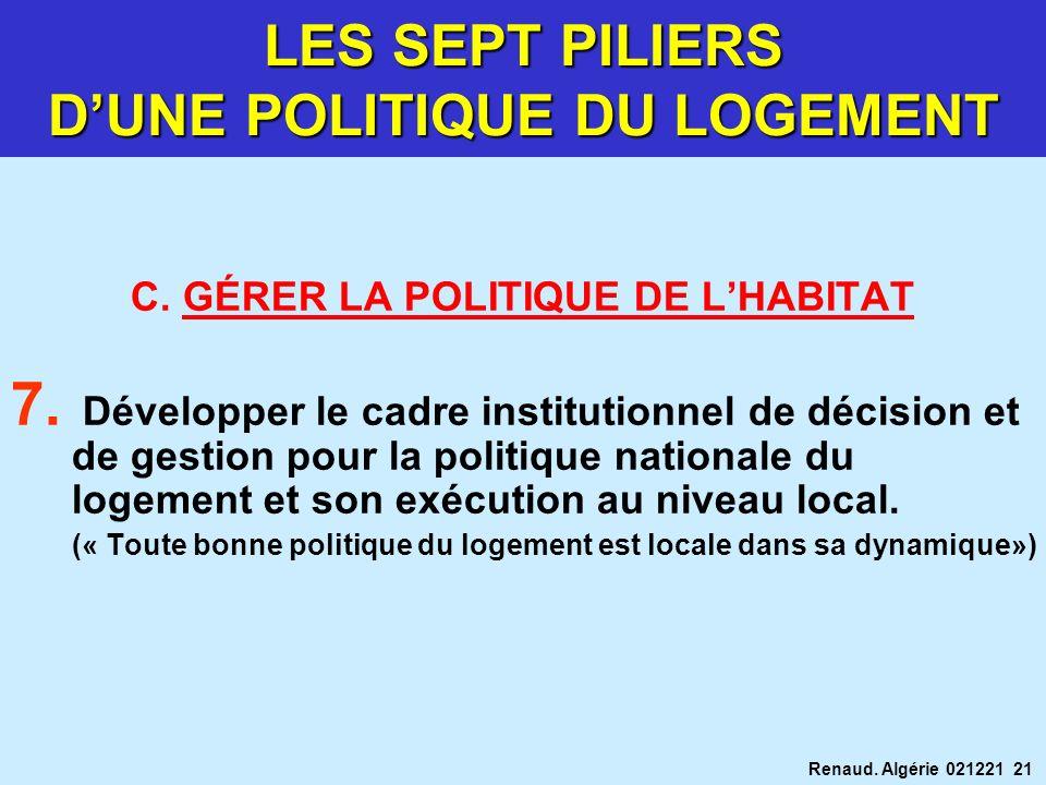 Renaud. Algérie 021221 21 C. GÉRER LA POLITIQUE DE LHABITAT 7. Développer le cadre institutionnel de décision et de gestion pour la politique national