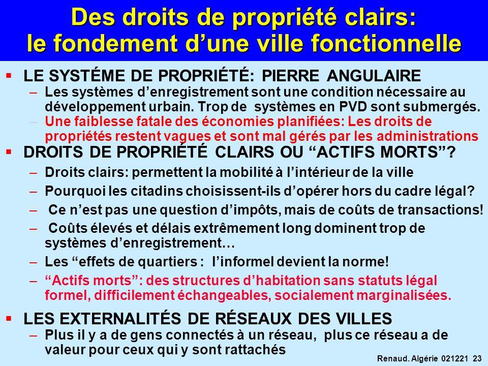 Renaud. Algérie 021221 23 Des droits de propriété clairs: le fondement dune ville fonctionnelle LE SYSTÉME DE PROPRIÉTÉ: PIERRE ANGULAIRE –Les système