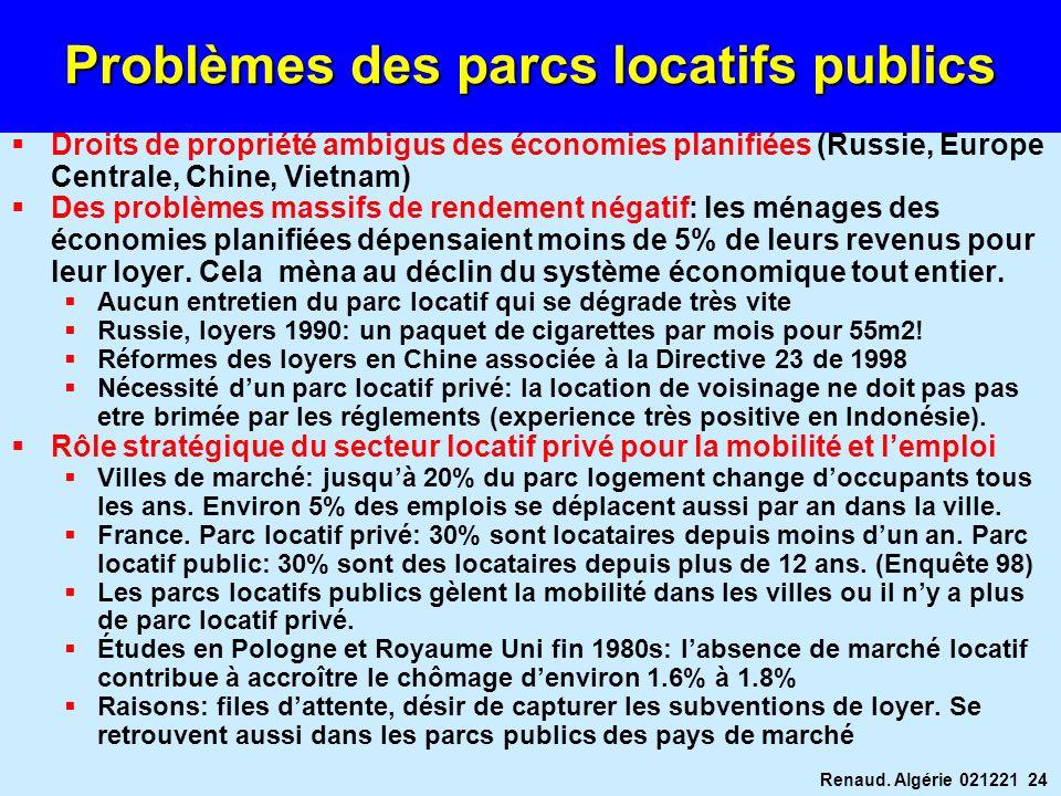 Renaud. Algérie 021221 24 Problèmes des parcs locatifs publics Droits de propriété ambigus des économies planifiées (Russie, Europe Centrale, Chine, V