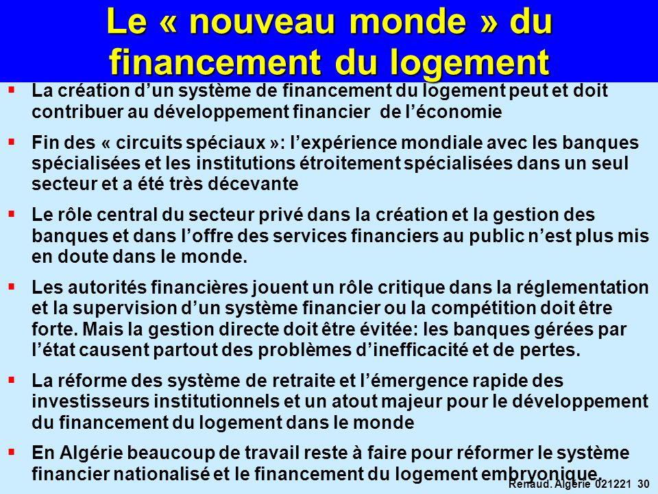 Renaud. Algérie 021221 30 Le « nouveau monde » du financement du logement La création dun système de financement du logement peut et doit contribuer a