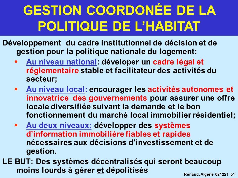 Renaud. Algérie 021221 51 Développement du cadre institutionnel de décision et de gestion pour la politique nationale du logement: Au niveau national: