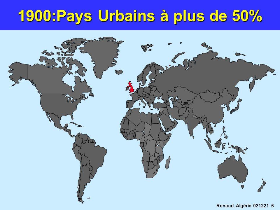 Renaud. Algérie 021221 6 1900:Pays Urbains à plus de 50%