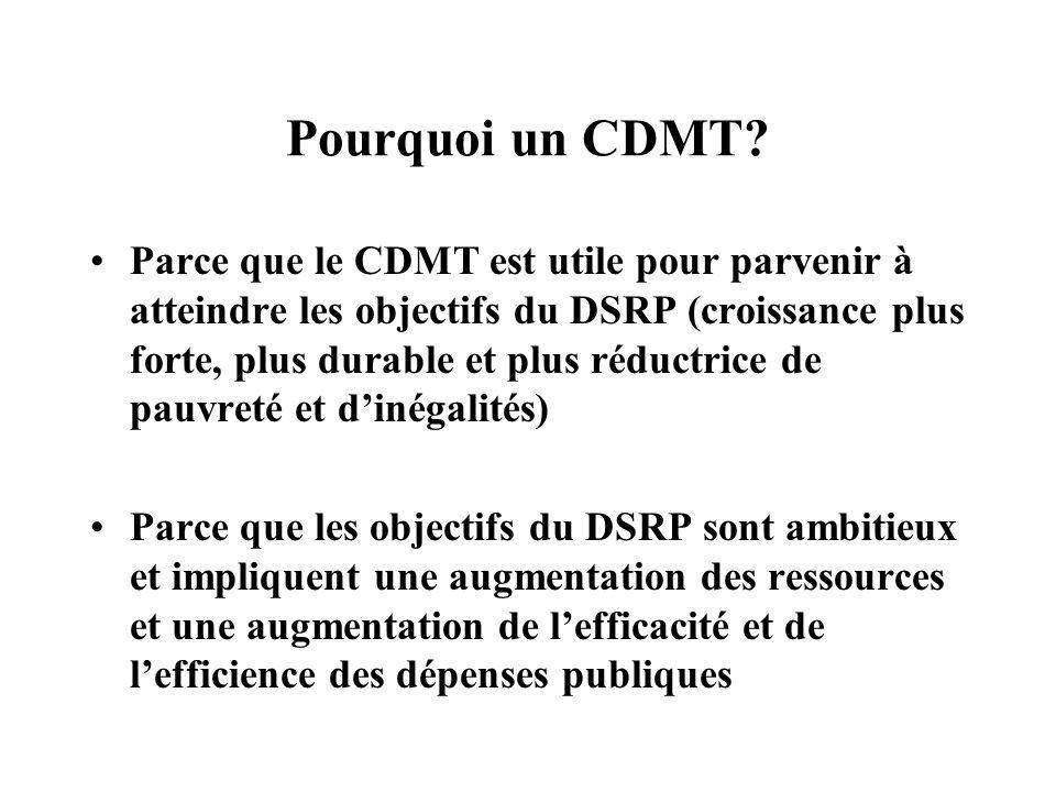 Trois éléments majeurs du CDMT Déterminer des objectifs budgétaires pluriannuels en matière de dépenses (investissement et fonctionnement) allouer les ressources aux différents secteurs en fonction des priorités du DSRP créer un système dinformation permanent pour suivre les indicateurs de performance