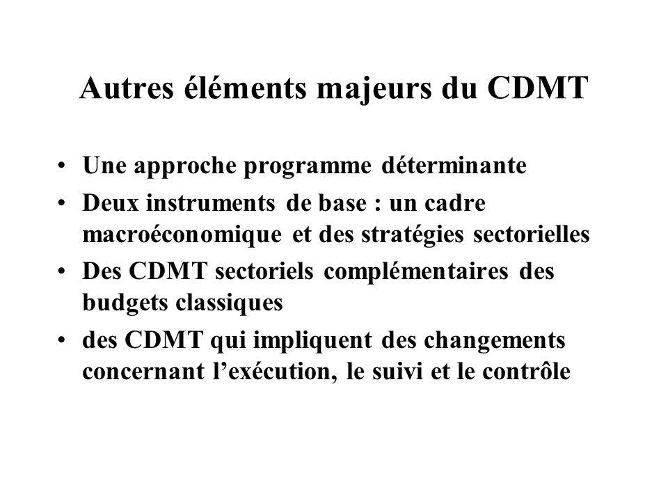 Autres éléments majeurs du CDMT Une approche programme déterminante Deux instruments de base : un cadre macroéconomique et des stratégies sectorielles