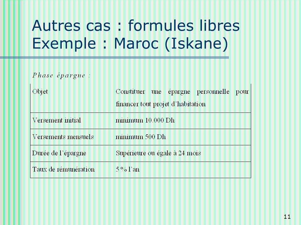 11 Autres cas : formules libres Exemple : Maroc (Iskane)