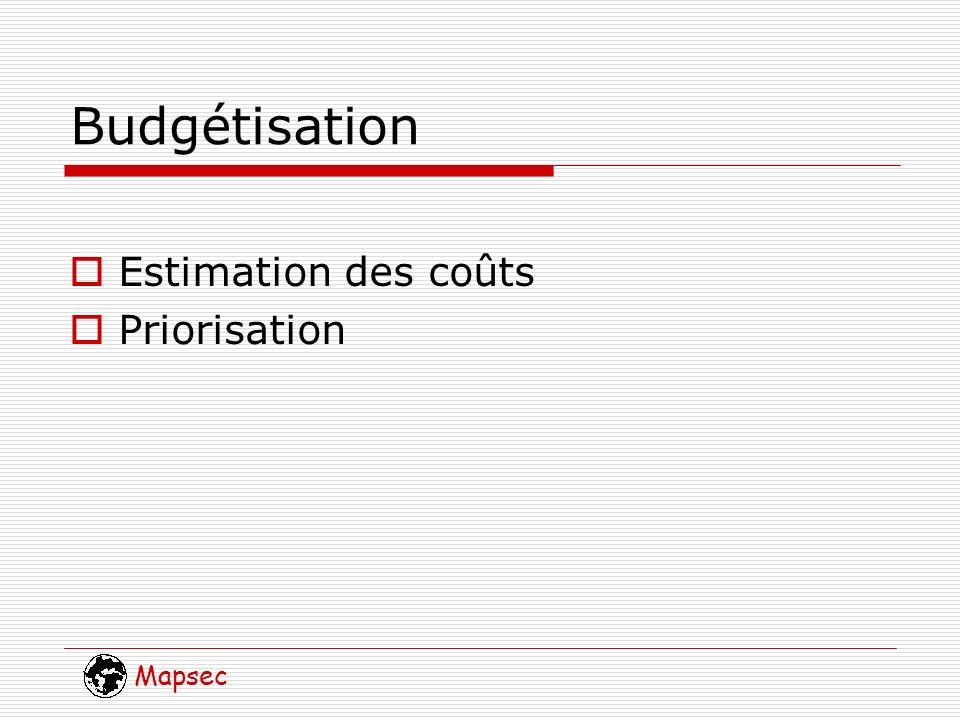 Mapsec Budgétisation Estimation des coûts Priorisation