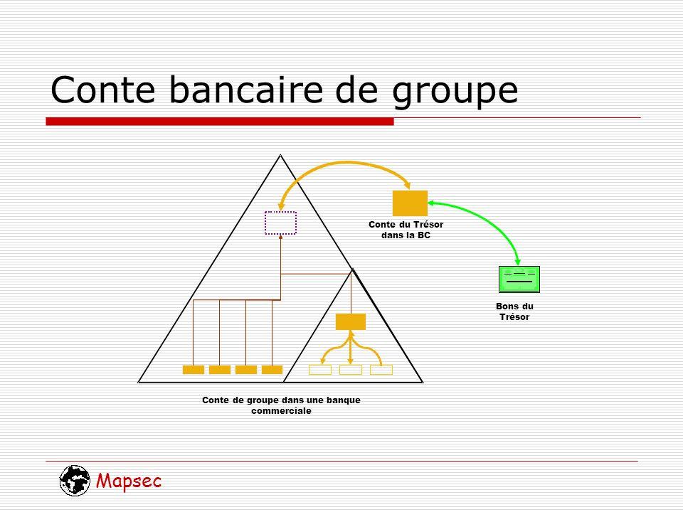 Mapsec Conte bancaire de groupe Conte de groupe dans une banque commerciale Conte du Trésor dans la BC Bons du Trésor