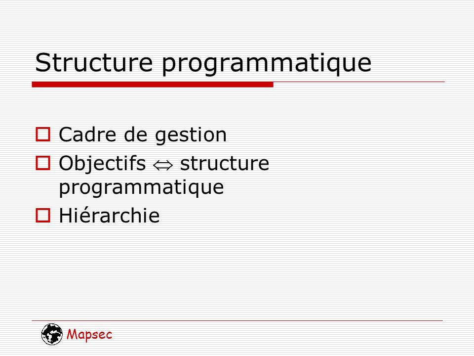 Mapsec Structure programmatique Cadre de gestion Objectifs structure programmatique Hiérarchie