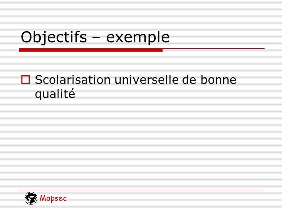 Mapsec Objectifs – exemple Scolarisation universelle de bonne qualité