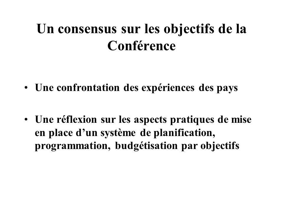 Un consensus sur les objectifs de la Conférence Une confrontation des expériences des pays Une réflexion sur les aspects pratiques de mise en place dun système de planification, programmation, budgétisation par objectifs