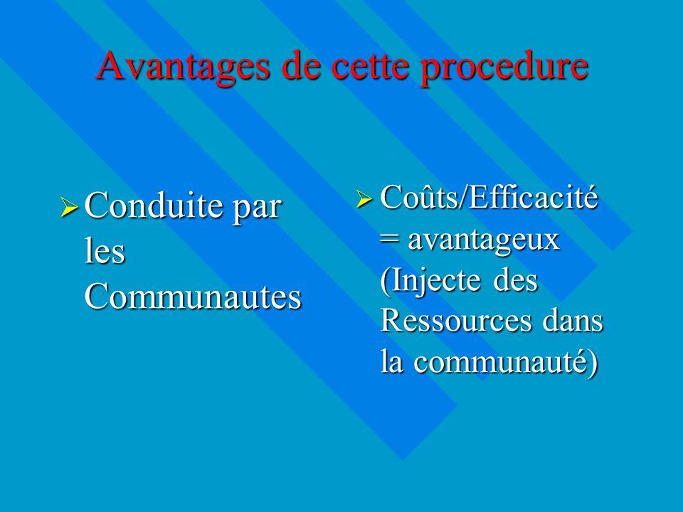 Avantages de cette procedure Conduite par les Communautes Conduite par les Communautes Coûts/Efficacité = avantageux (Injecte des Ressources dans la communauté)