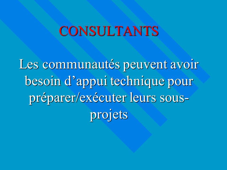 CONSULTANTS Les communautés peuvent avoir besoin dappui technique pour préparer/exécuter leurs sous- projets