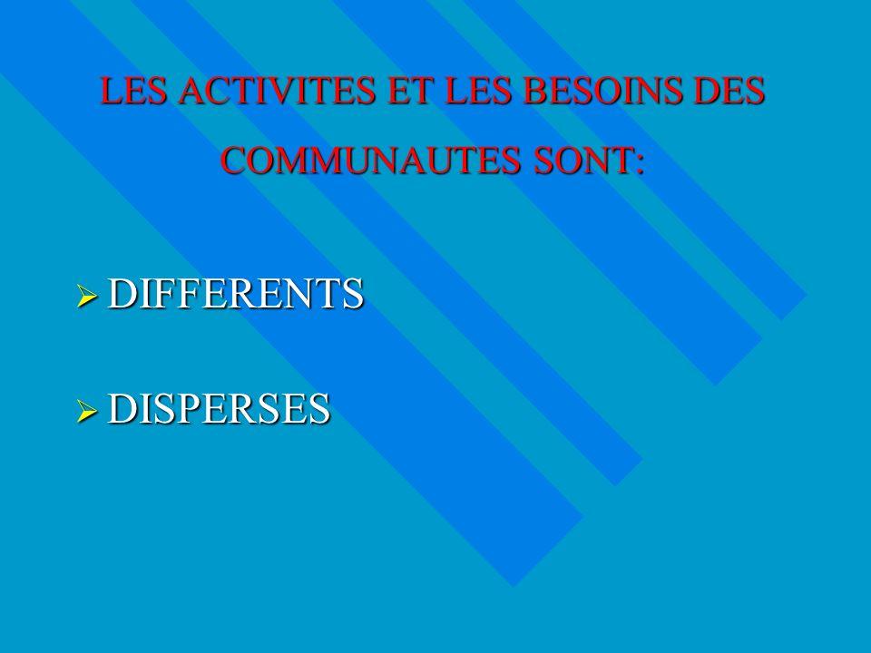 LES ACTIVITES ET LES BESOINS DES COMMUNAUTES SONT: DIFFERENTS DIFFERENTS DISPERSES DISPERSES