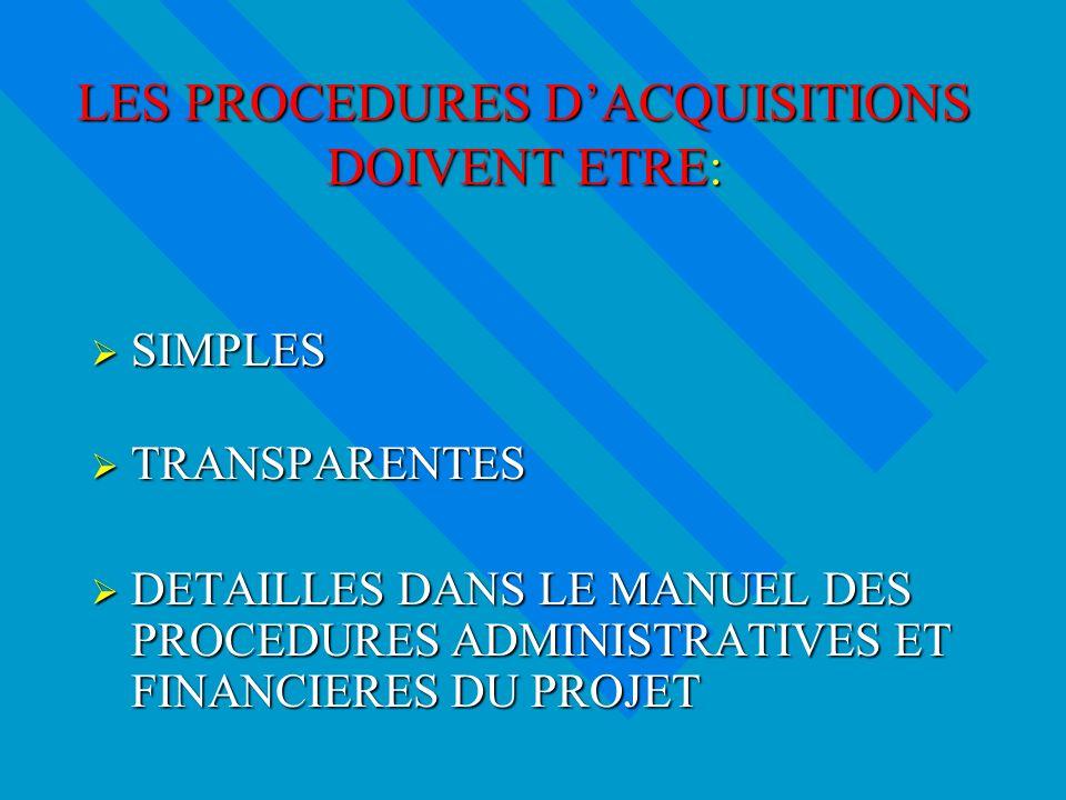 LES PROCEDURES DACQUISITIONS DOIVENT ETRE: SIMPLES SIMPLES TRANSPARENTES TRANSPARENTES DETAILLES DANS LE MANUEL DES PROCEDURES ADMINISTRATIVES ET FINANCIERES DU PROJET DETAILLES DANS LE MANUEL DES PROCEDURES ADMINISTRATIVES ET FINANCIERES DU PROJET
