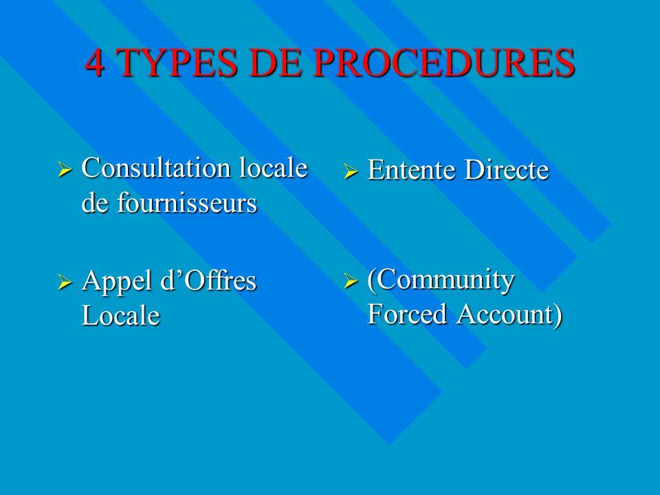 4 TYPES DE PROCEDURES Consultation locale de fournisseurs Consultation locale de fournisseurs Appel dOffres Locale Appel dOffres Locale Entente Directe (Community Forced Account)