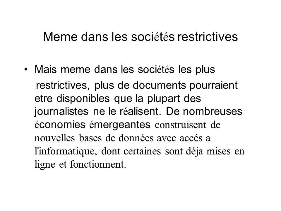 Meme dans les soci é t é s restrictives Mais meme dans les soci é t é s les plus restrictives, plus de documents pourraient etre disponibles que la pl
