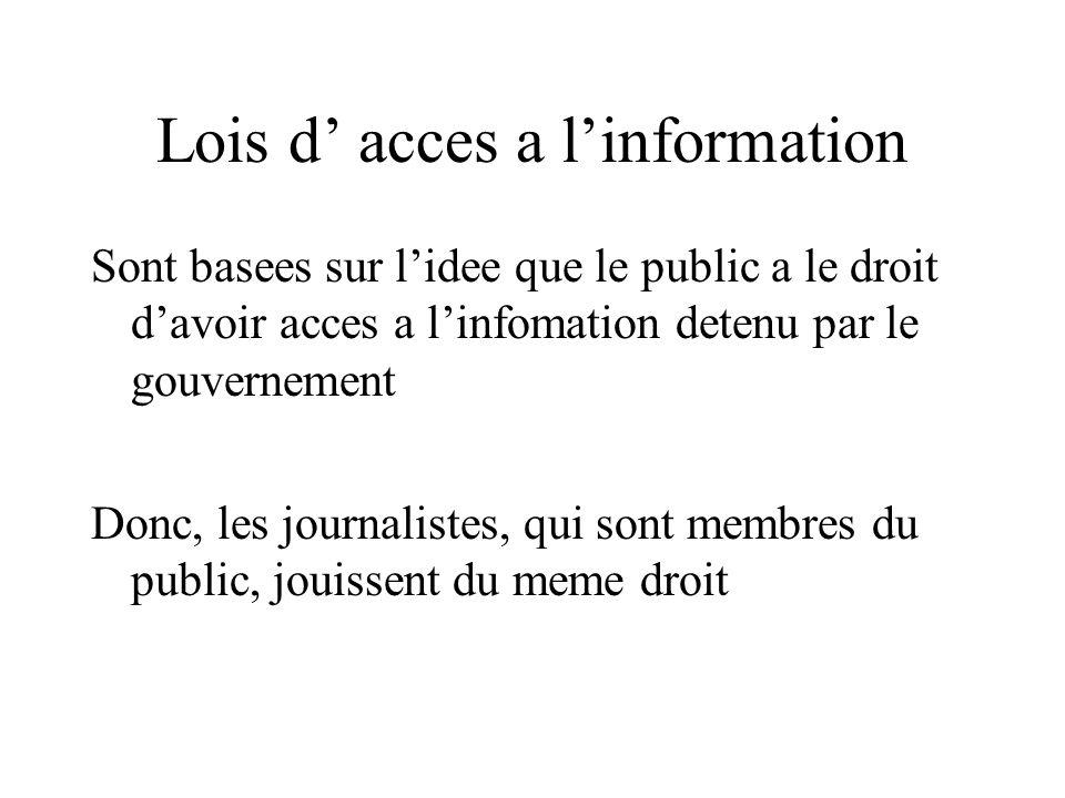 Lois d acces a linformation Sont basees sur lidee que le public a le droit davoir acces a linfomation detenu par le gouvernement Donc, les journalistes, qui sont membres du public, jouissent du meme droit