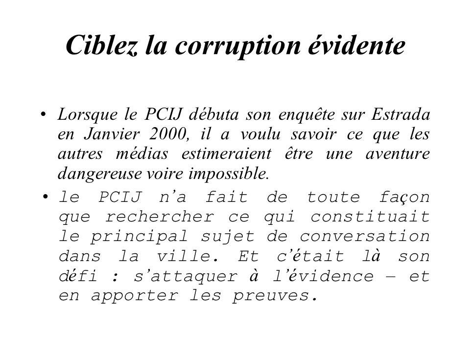 Ciblez la corruption évidente Lorsque le PCIJ débuta son enquête sur Estrada en Janvier 2000, il a voulu savoir ce que les autres médias estimeraient être une aventure dangereuse voire impossible.