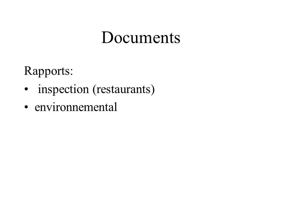 Documents Rapports: inspection (restaurants) environnemental
