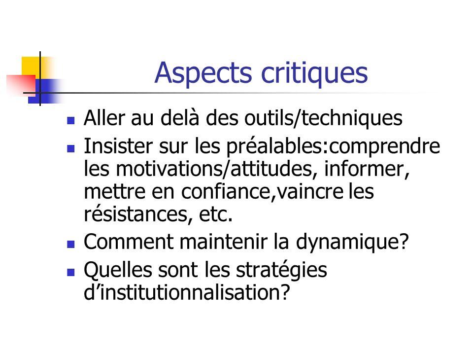 Aspects critiques Aller au delà des outils/techniques Insister sur les préalables:comprendre les motivations/attitudes, informer, mettre en confiance,
