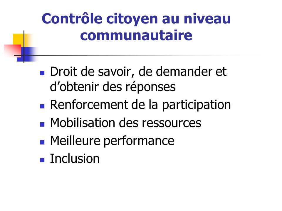 Contrôle citoyen au niveau communautaire Droit de savoir, de demander et dobtenir des réponses Renforcement de la participation Mobilisation des ressources Meilleure performance Inclusion