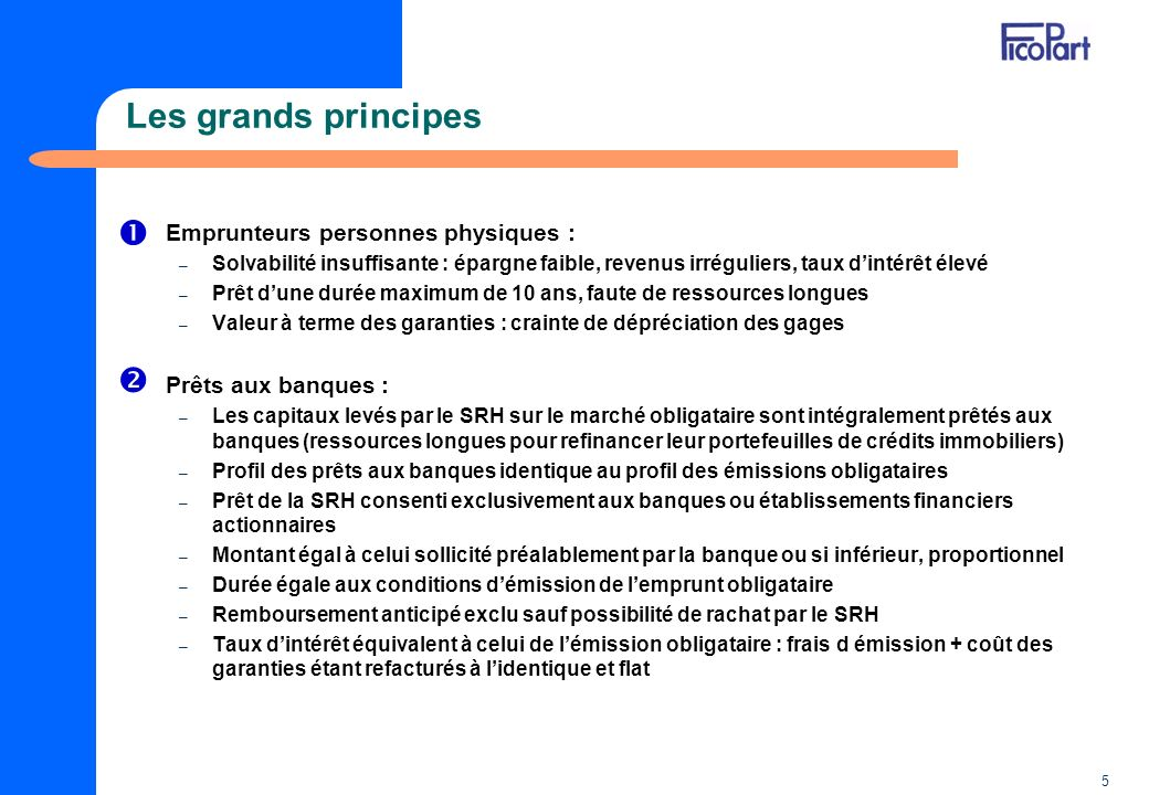 5 Les grands principes Emprunteurs personnes physiques : – Solvabilité insuffisante : épargne faible, revenus irréguliers, taux dintérêt élevé – Prêt