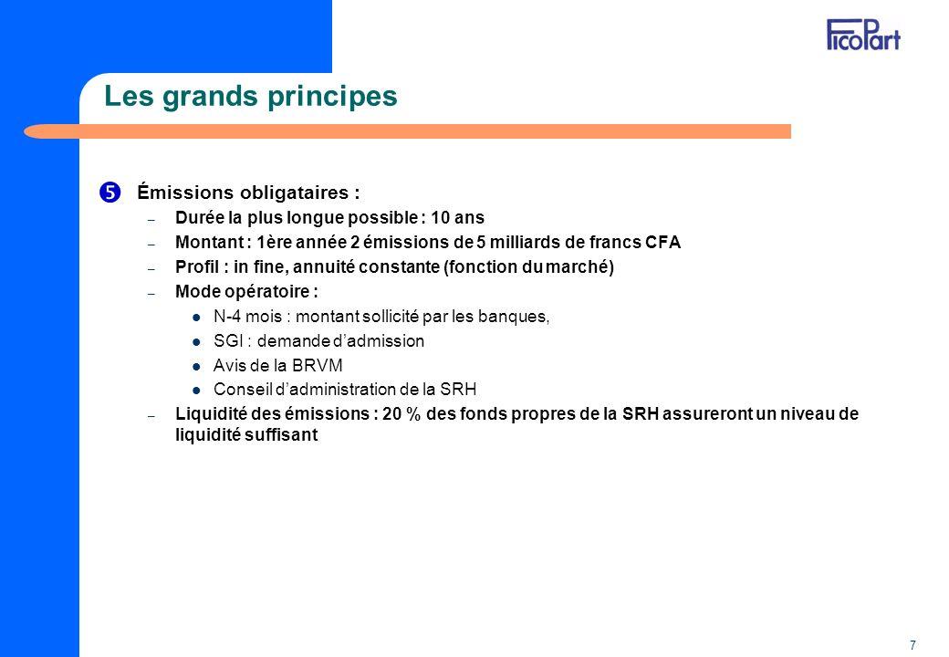 7 Les grands principes Émissions obligataires : – Durée la plus longue possible : 10 ans – Montant : 1ère année 2 émissions de 5 milliards de francs C