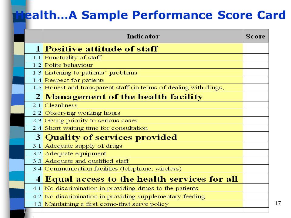 Séance d apprentissage SEP174 juin 2002 Health…A Sample Performance Score Card