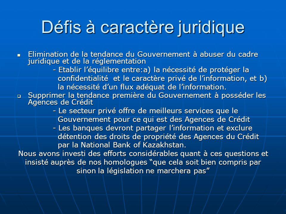 Défis à caractère juridique Elimination de la tendance du Gouvernement à abuser du cadre juridique et de la réglementation Elimination de la tendance