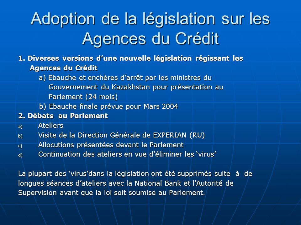 Adoption de la législation sur les Agences du Crédit 1. Diverses versions dune nouvelle législation régissant les Agences du Crédit Agences du Crédit
