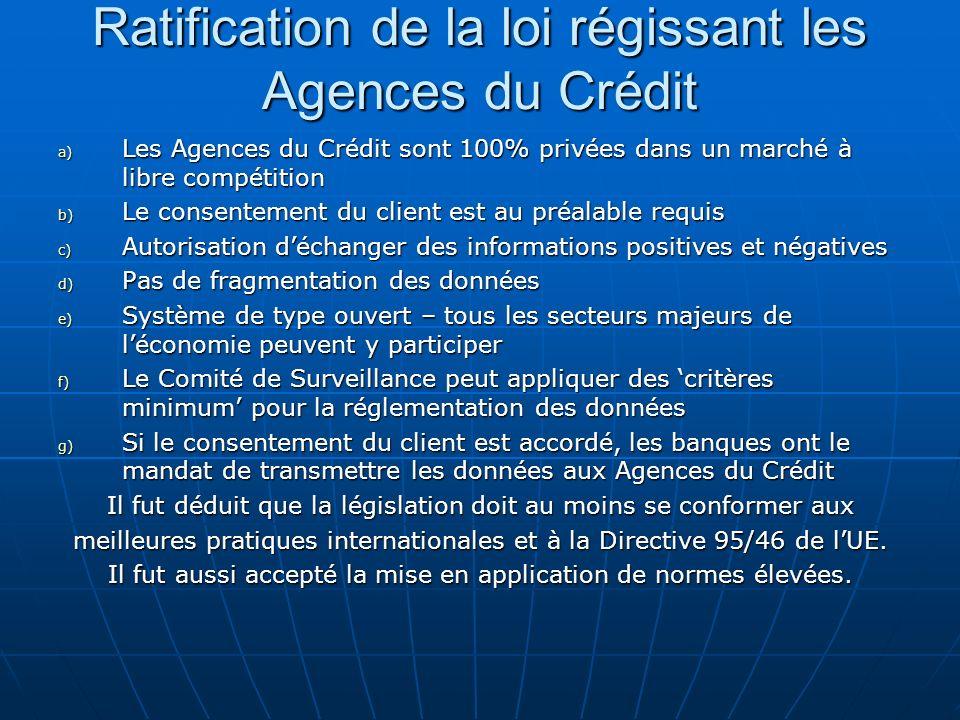 Ratification de la loi régissant les Agences du Crédit a) Les Agences du Crédit sont 100% privées dans un marché à libre compétition b) Le consentemen
