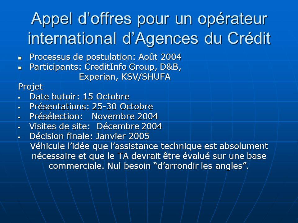 Appel doffres pour un opérateur international dAgences du Crédit Processus de postulation: Août 2004 Processus de postulation: Août 2004 Participants: CreditInfo Group, D&B, Participants: CreditInfo Group, D&B, Experian, KSV/SHUFA Experian, KSV/SHUFAProjet Date butoir: 15 Octobre Date butoir: 15 Octobre Présentations: 25-30 Octobre Présentations: 25-30 Octobre Présélection: Novembre 2004 Présélection: Novembre 2004 Visites de site: Décembre 2004 Visites de site: Décembre 2004 Décision finale: Janvier 2005 Décision finale: Janvier 2005 Véhicule lidée que lassistance technique est absolument nécessaire et que le TA devrait être évalué sur une base commerciale.