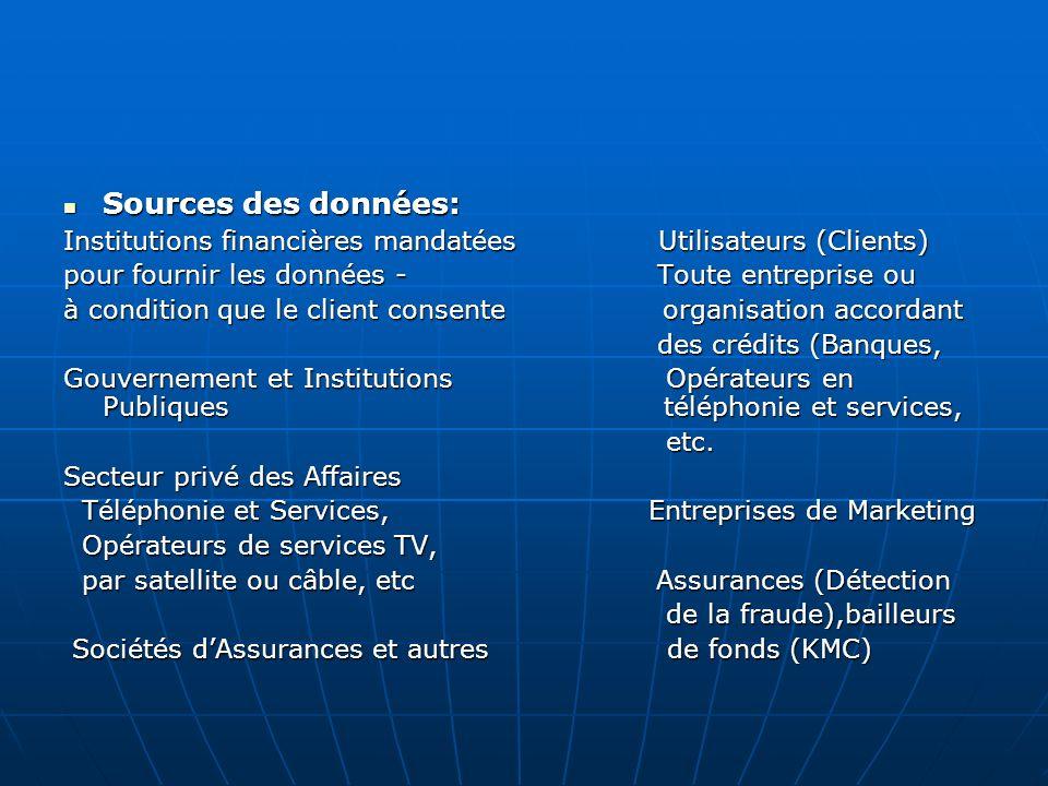 Sources des données: Sources des données: Institutions financières mandatées Utilisateurs (Clients) pour fournir les données - Toute entreprise ou à c