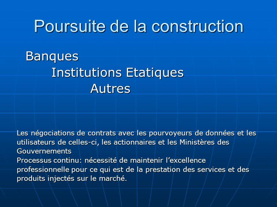 Poursuite de la construction Banques Banques Institutions Etatiques Institutions Etatiques Autres Autres Les négociations de contrats avec les pourvoy