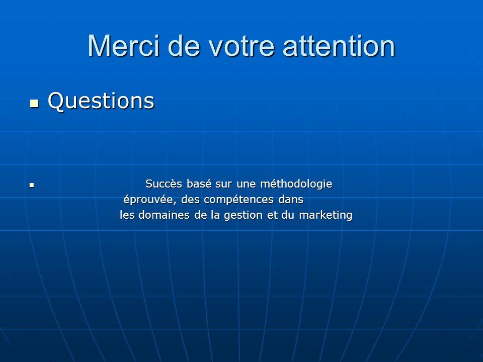 Merci de votre attention Questions Questions Succès basé sur une méthodologie Succès basé sur une méthodologie éprouvée, des compétences dans éprouvée, des compétences dans les domaines de la gestion et du marketing les domaines de la gestion et du marketing