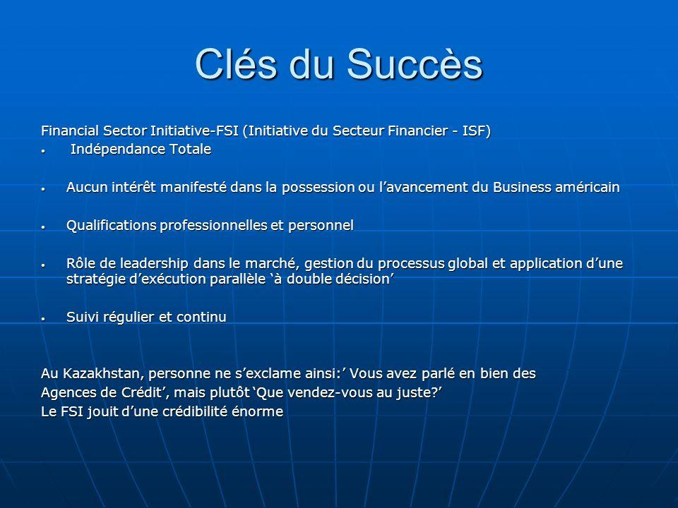 Clés du Succès Financial Sector Initiative-FSI (Initiative du Secteur Financier - ISF) Indépendance Totale Indépendance Totale Aucun intérêt manifesté
