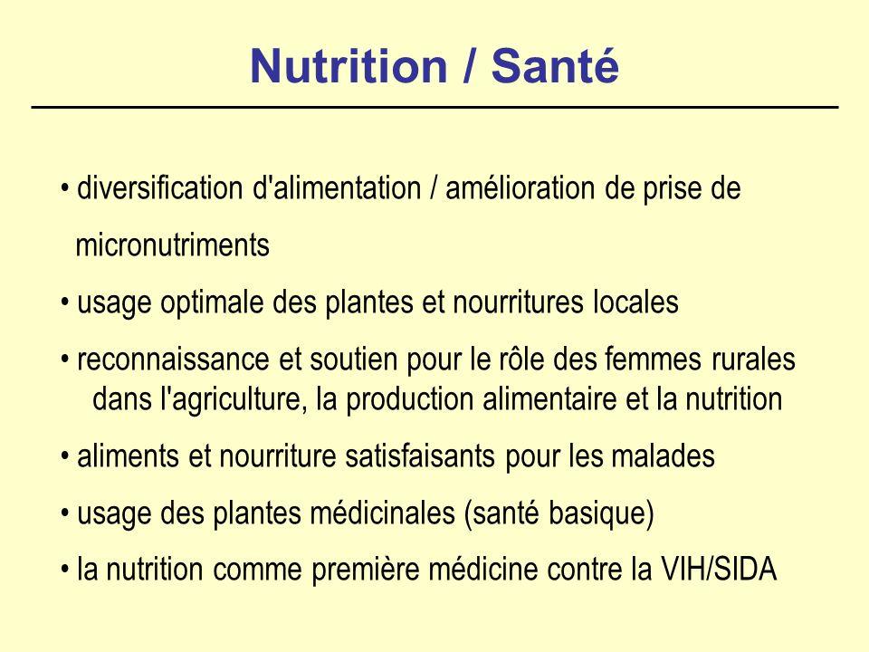Nutrition / Santé diversification d alimentation / amélioration de prise de micronutriments usage optimale des plantes et nourritures locales reconnaissance et soutien pour le rôle des femmes rurales dans l agriculture, la production alimentaire et la nutrition aliments et nourriture satisfaisants pour les malades usage des plantes médicinales (santé basique) la nutrition comme première médicine contre la VIH/SIDA