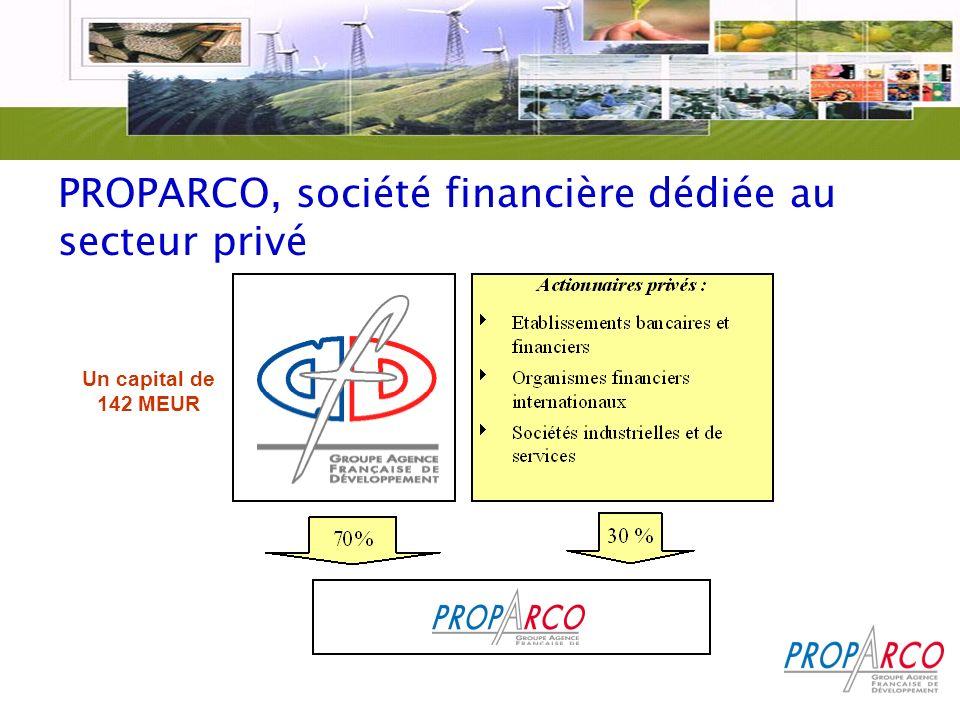 PROPARCO, société financière dédiée au secteur privé Un capital de 142 MEUR