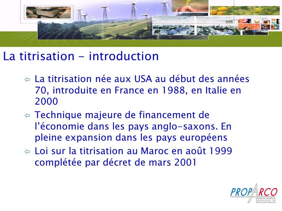 La titrisation - introduction ï La titrisation née aux USA au début des années 70, introduite en France en 1988, en Italie en 2000 ï Technique majeure de financement de léconomie dans les pays anglo-saxons.