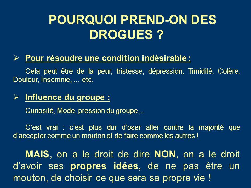 POURQUOI PREND-ON DES DROGUES .