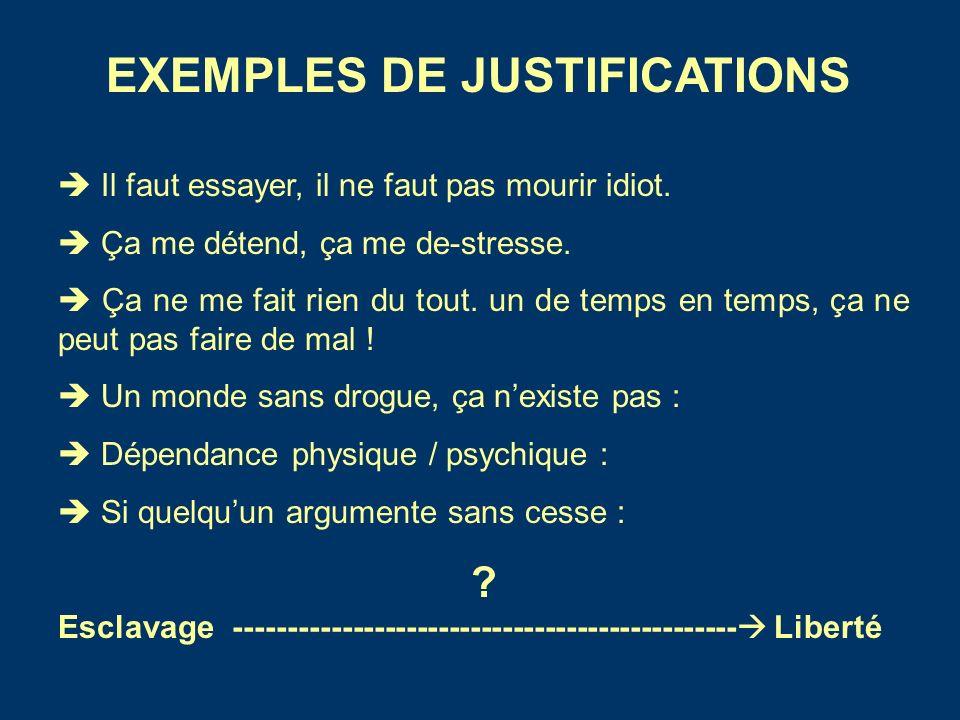 EXEMPLES DE JUSTIFICATIONS Il faut essayer, il ne faut pas mourir idiot.