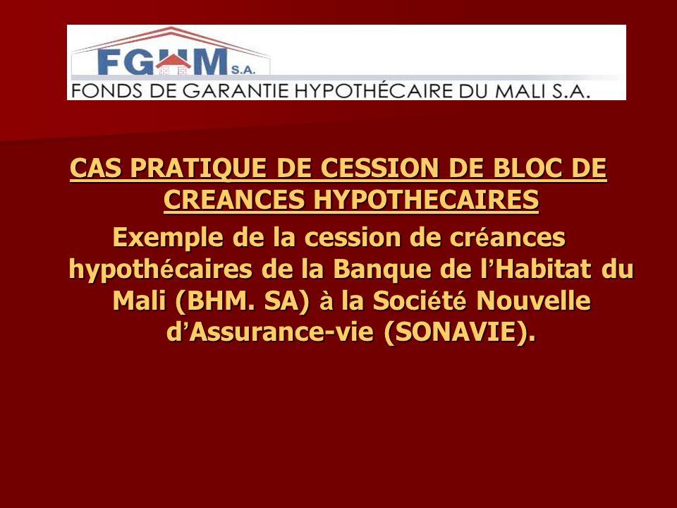 CAS PRATIQUE DE CESSION DE BLOC DE CREANCES HYPOTHECAIRES Exemple de la cession de cr é ances hypoth é caires de la Banque de l Habitat du Mali (BHM.