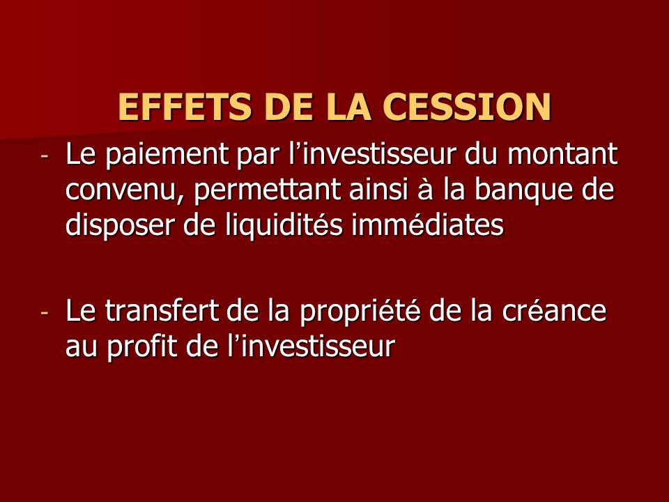 EFFETS DE LA CESSION - Le paiement par l investisseur du montant convenu, permettant ainsi à la banque de disposer de liquidit é s imm é diates - Le t