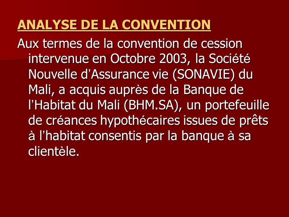 ANALYSE DE LA CONVENTION Aux termes de la convention de cession intervenue en Octobre 2003, la Soci é t é Nouvelle d Assurance vie (SONAVIE) du Mali,