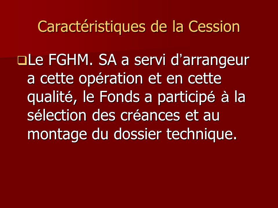 Caractéristiques de la Cession Le FGHM. SA a servi d arrangeur a cette op é ration et en cette qualit é, le Fonds a particip é à la s é lection des cr