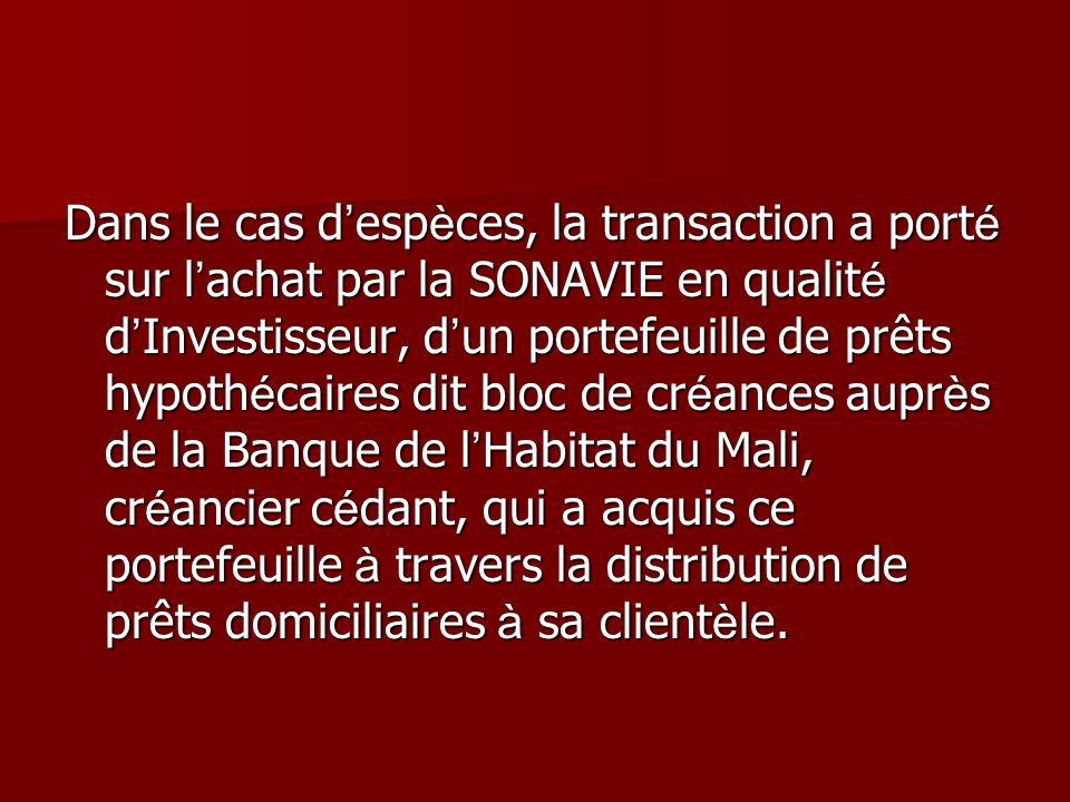 Dans le cas d esp è ces, la transaction a port é sur l achat par la SONAVIE en qualit é d Investisseur, d un portefeuille de prêts hypoth é caires dit
