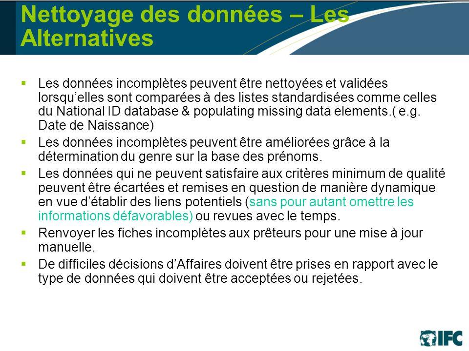 Nettoyage des données – Les Alternatives Les données incomplètes peuvent être nettoyées et validées lorsquelles sont comparées à des listes standardisées comme celles du National ID database & populating missing data elements.( e.g.