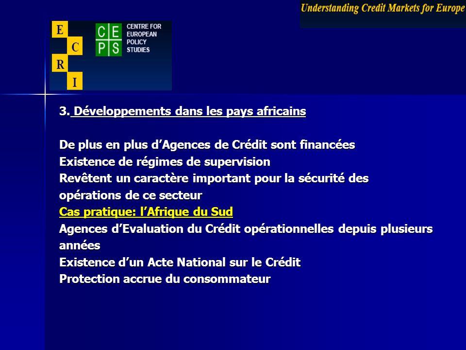 3. Développements dans les pays africains De plus en plus dAgences de Crédit sont financées Existence de régimes de supervision Revêtent un caractère